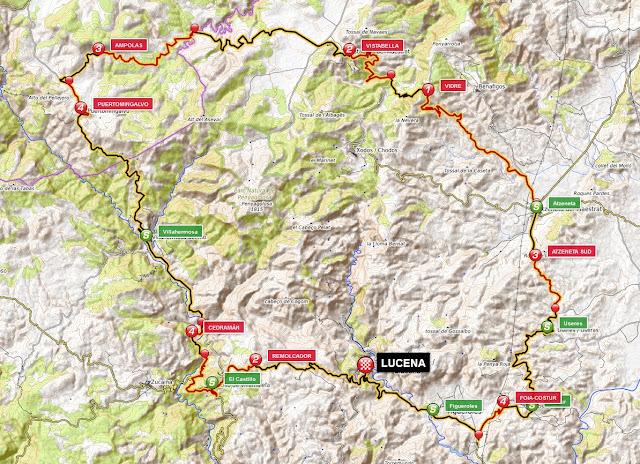 mapa de situación de puertos de montaña en la etapa cicloturista rodeando el pico penyagolosa