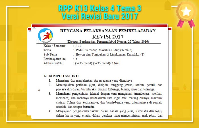 RPP K13 Kelas 4 Tema 3 Versi Revisi Baru 2017
