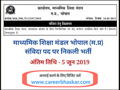 MPBSE Recruitment 2019