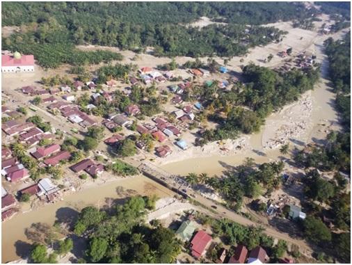 Wilayah terdampak Banjir Bandang, di hilir S. Radda di dekat jembatan jalan poros  Utama  Luwu Utara