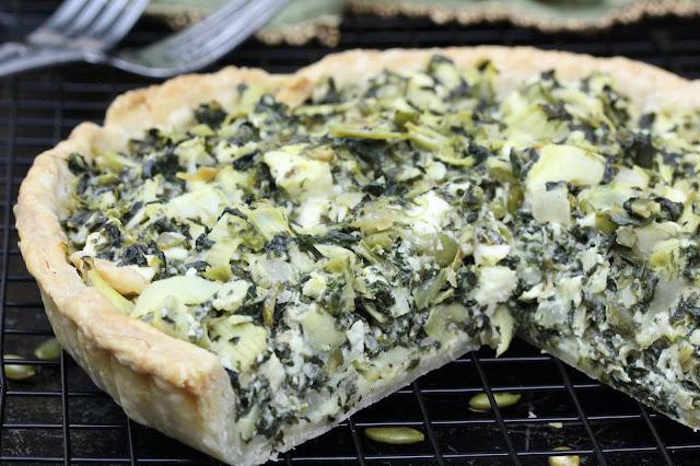 Spinach Artichoke and Feta Tart