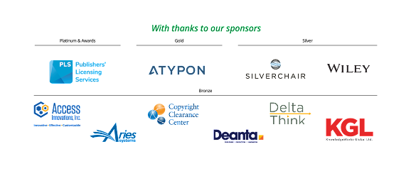 banner displaying logos of conference sponsors