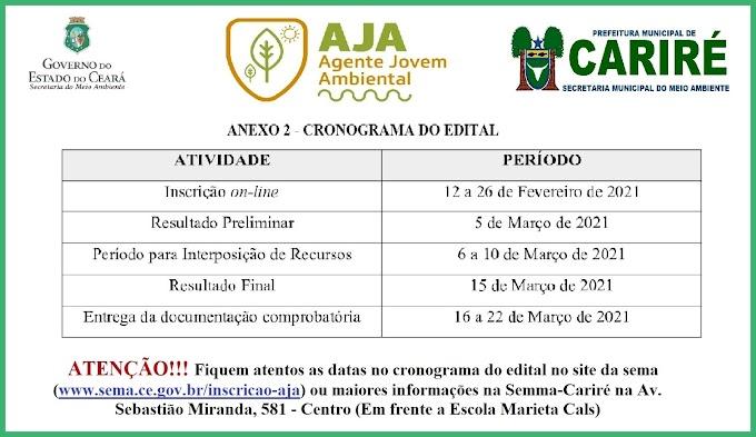 Cronograma do edital do programa Jovem Agente Ambiental (AJA)