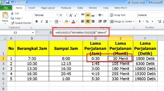 Cara Menghitung Jam ke Menit di Excel dengan Mudah
