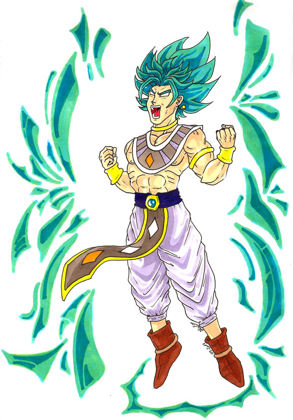 Dessin couleur de Broly en Super Saiyan God - Dragon Ball Super
