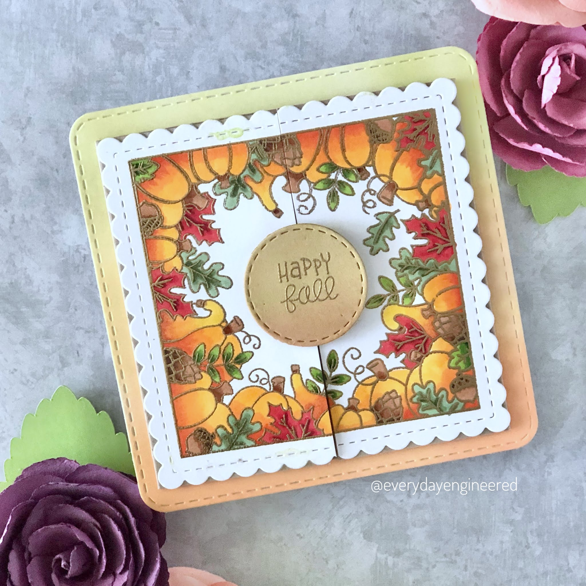 Fall Gatefold Card by October Guest Designer Farhana | Fall Fringe Stamp Set and Frames Squared Die Set by Newton's Nook Designs #newtonsnook
