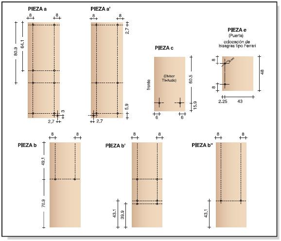 Muebles de melamina y madera plano de mueble para tv for Medidas de muebles para planos