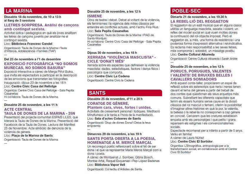 Publicación del Ayuntamiento de Barcelona mencionando el evento Coratge de Gànere