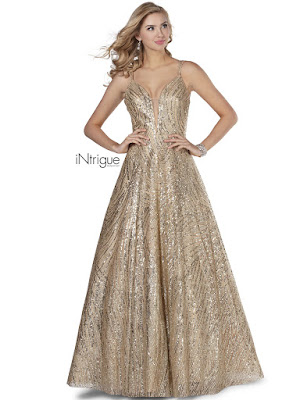 A-line open back intrigue by blush prom dress Rose Gold Color