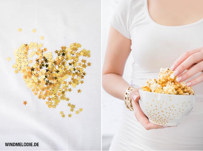 Silvester Dekoration Ideen Gold DIY Popcorn Rezept