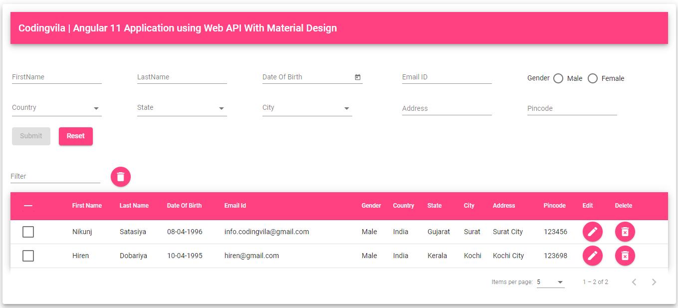 Angular 11 CURD Application using Web API With Material Design