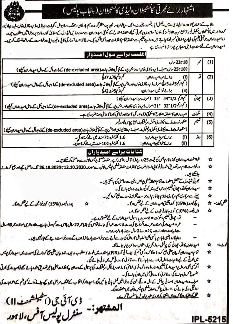 Punjab Police Jobs 2020 Advertisement For Constable and Lady Constable Posts in Pakistan Jobs 2021