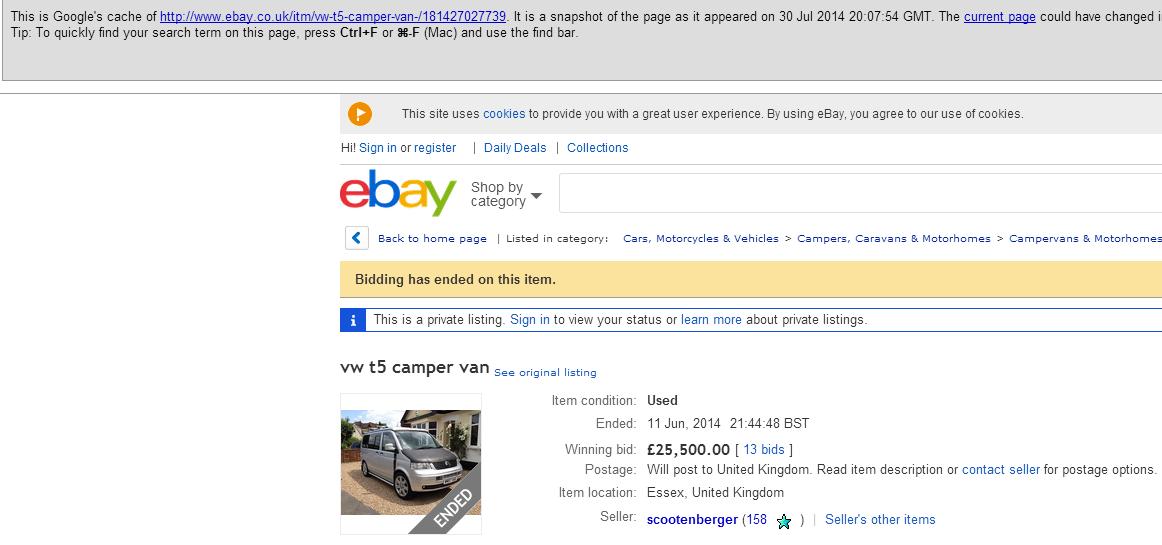 Jack Buster Jack Scam Fraud On Ebay 2007 T5 Vw Camper Campervan Motorhome 02 Aug 14
