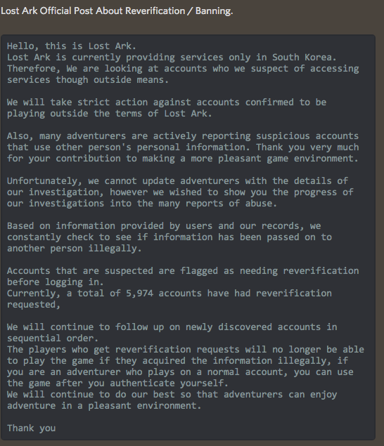 Smilegate posts official notice regarding the Re-verifications