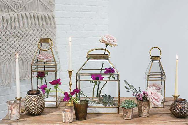 Accent Decor Top 10 Bestsellers - Gold rimmed glass lanterns