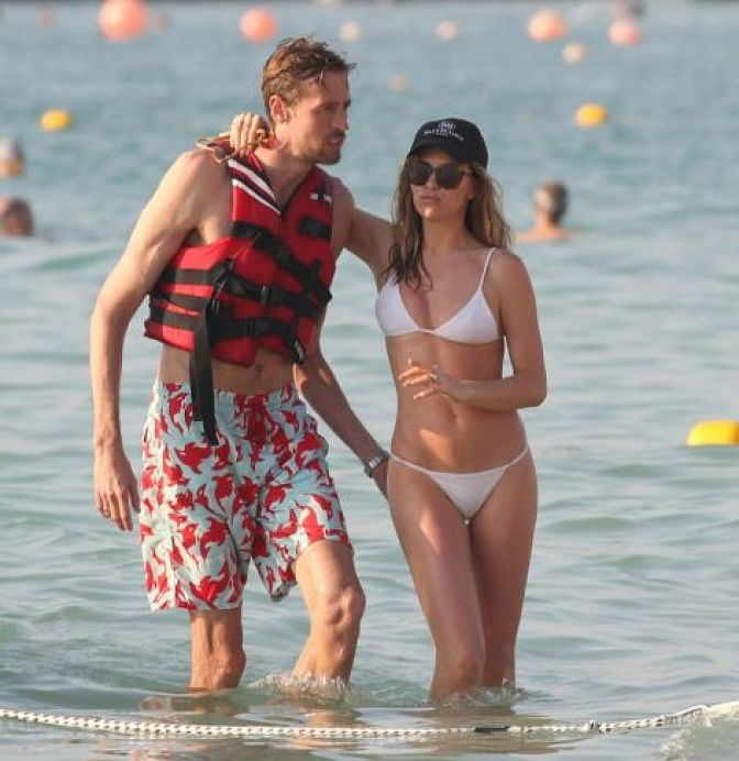 Abbey Clancy in White Bikini Le Royal Meridien Beach Resort in Dubai