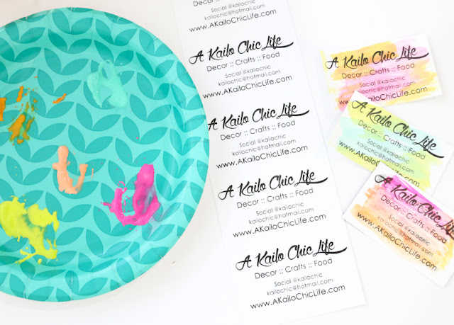 Make your own custom business card stamp using the Silhouette Mint and use it to make your own watercolor business cards