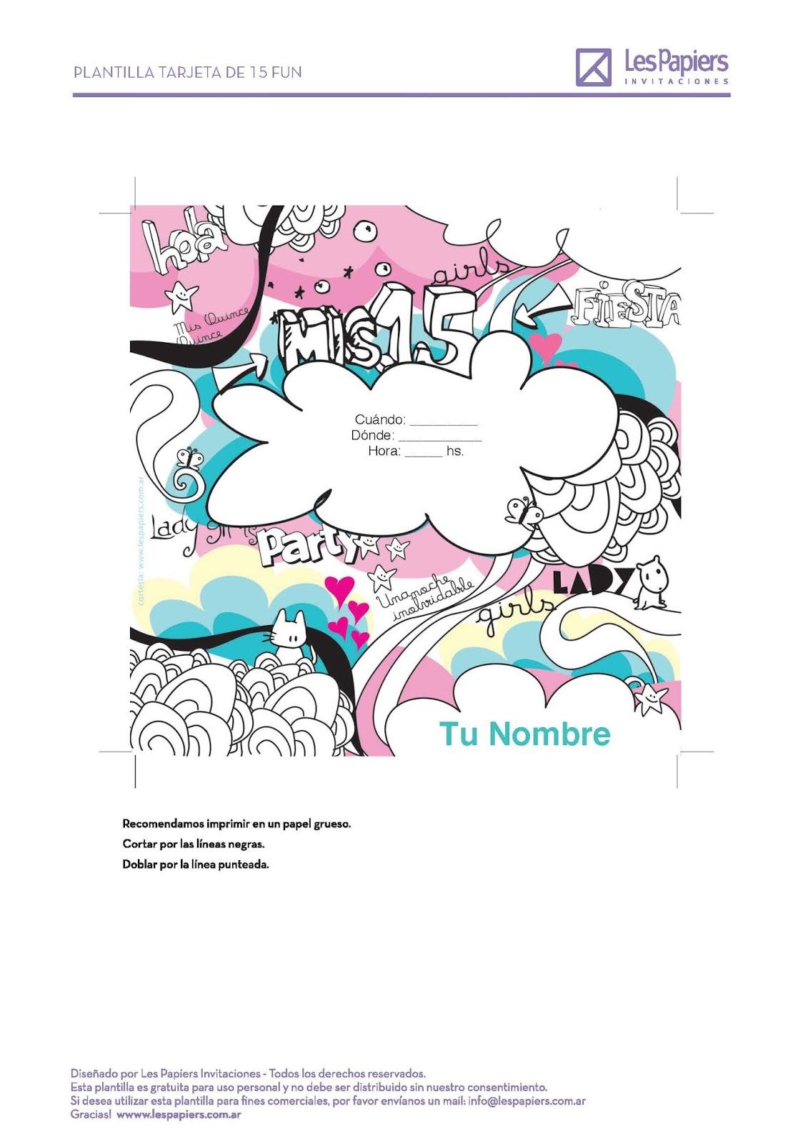 Les Papiers Invitaciones: Tarjetas de 15 años gratis para imprimir ...