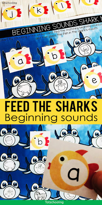 FREE printable initial letter sounds activity with a fun shark and fish theme! Perfect for pre-k and kinder kids who are learning beginning letter sounds.