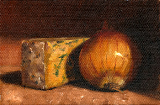Oil painting of a small block of Shropshire Blue cheese beside a brown onion.