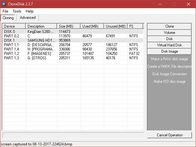CloneDisk 2.3.7 - Clonar, copiar particiones, copias de seguridad, crear imágenes de disco y mucho más.