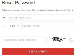 Lupa password akun garena reset