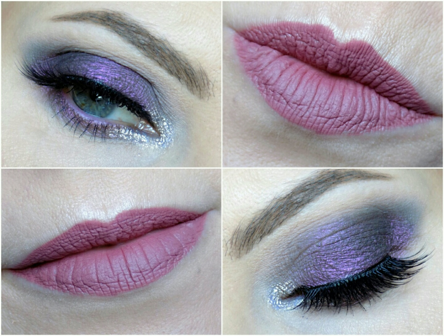 purple smokey eyes and mauve lips