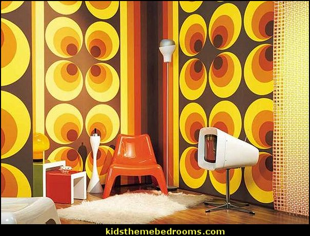 Retro 60s and 70s Designs Mod Hippie Wall Art Home Decor Wall Paper
