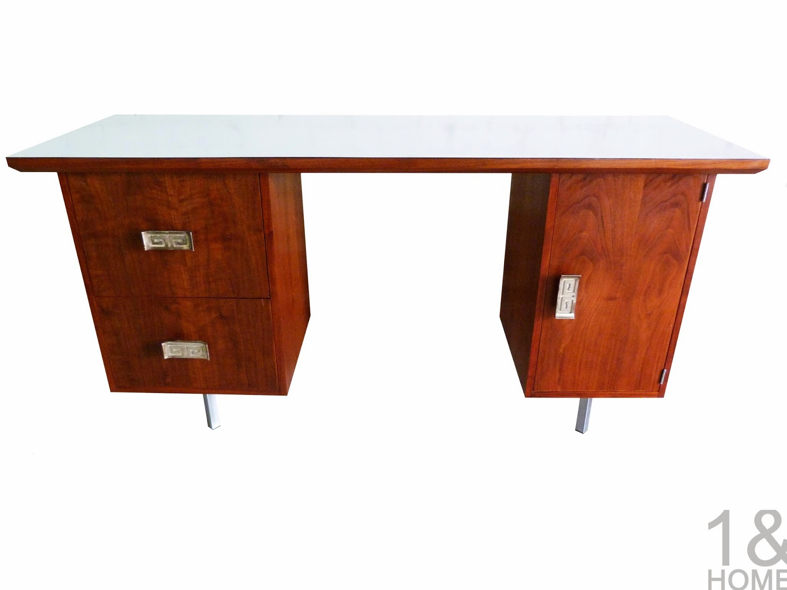Mid-Century Modern Chinoiserie Solid Walnut Desk