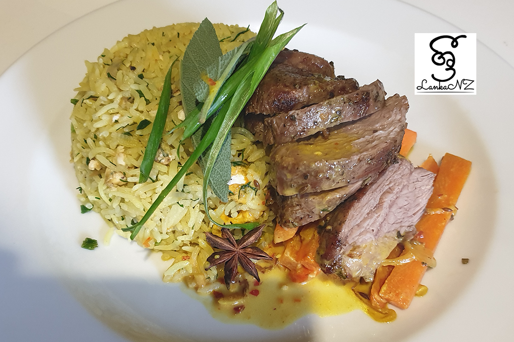 Recipe – Herbs fried rice served with lamb rump & carrot by Sameera Bandara – Wellington