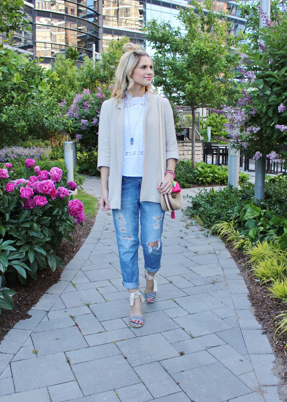 bijuleni - Zara jacket, jcrew ripped boyfriend jeans and nautical wedges