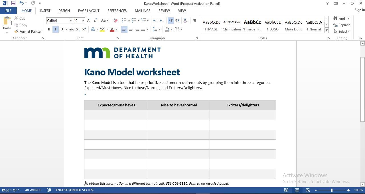 kano Model Template in Word