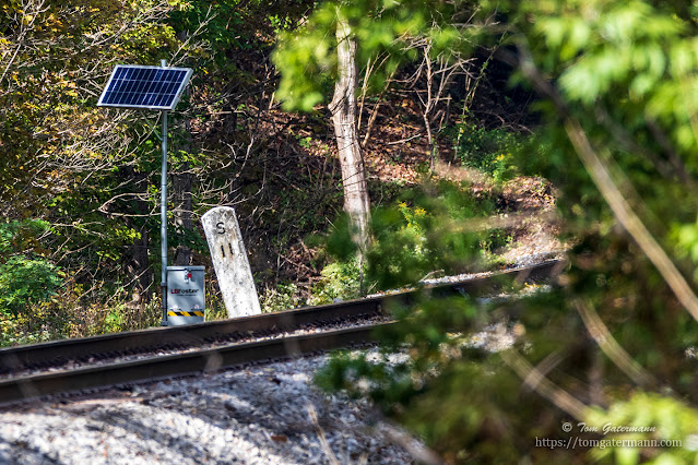 An old milepost along the rail line, just to the west of Martisco Station