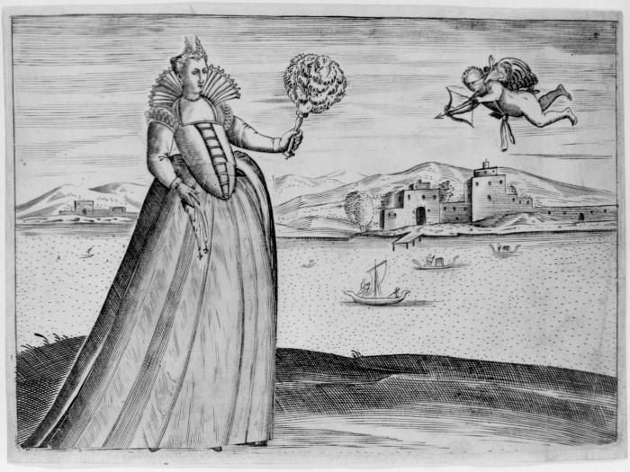 Венецианская женщина с подвижной юбкой