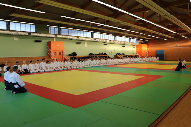Photo des pratiquants aikibudo au salut de début de stage