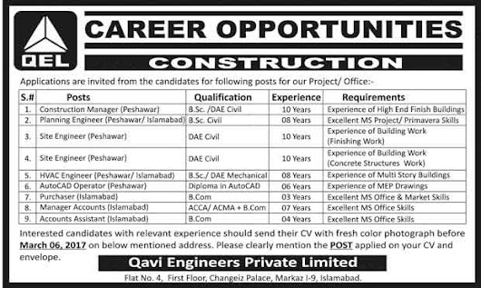 Careers Opportunities in Construction Field For Civil Engineers Apply via Latest CV