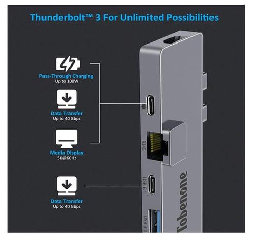 Tobenone USB C Hub 8-in-2 Dual 4K Monitor Docking Station