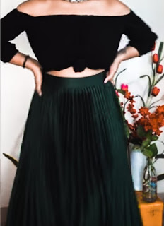 crop top with pleated skirt