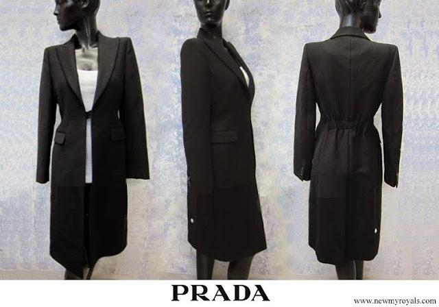 Crown Princess Mary wore a Prada Cappotto black coat