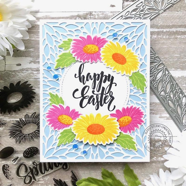 Sunny Studio Stamps: Blooming Frame Dies Cheerful Daisies Easter Card by Lynn Put