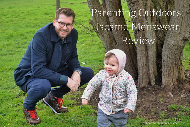 Parenting Outdoors - Jacamo menswear review - man crouching down next to a toddler outside