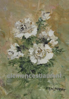Eternity, a 7 x 5 oil painting of white roses by Clemence St. Laurent