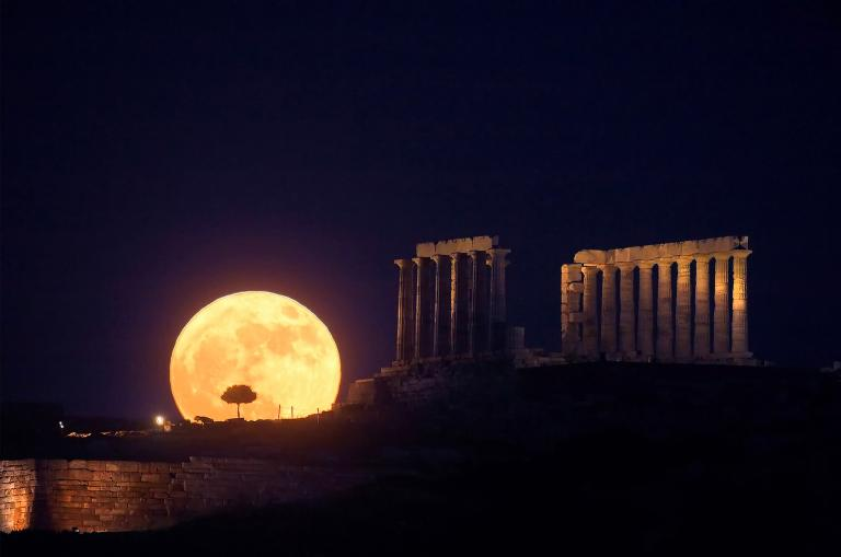 Full Moon over the Temple of Poseidon in Greece