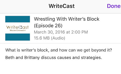 Logo, Title, and description of this episode of Write Cast.