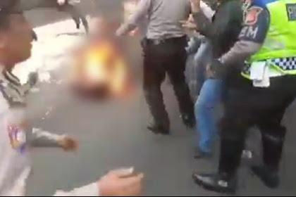 Polisi di Cianjur Terbakar Hidup-hidup Saat Kawal Demo Mahasiswa