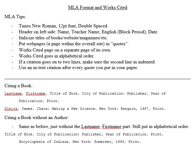 mla works cited examples