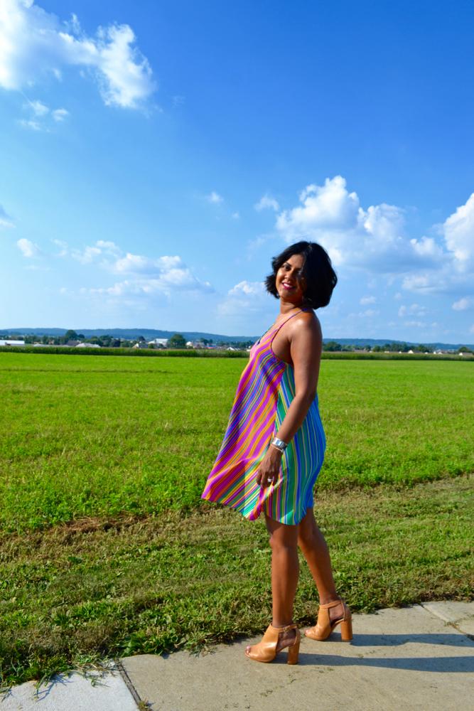 Multi striped dress Le Tote dress
