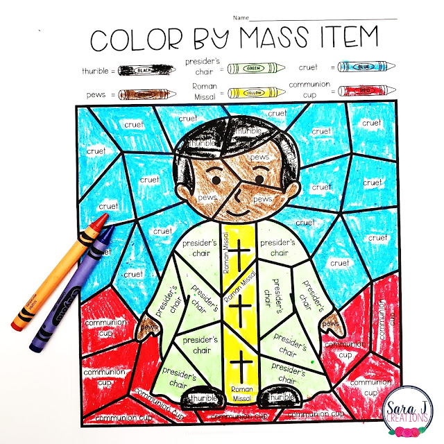 Catholic Color by Mass Item Coloring Pages - the fun and engaging way to teach your students about the items we use during Mass. Because there are five versions included, this is perfect for little ones, young children and older children as well. Perfect for your Catholic school, religious education, or Sunday school classroom. Help your students identify the items they see in church with these awesome coloring pages. Click to try out a FREE SAMPLE!