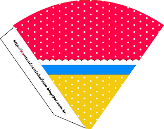 Red, Light Blue and Yellow Free Printable Cones.