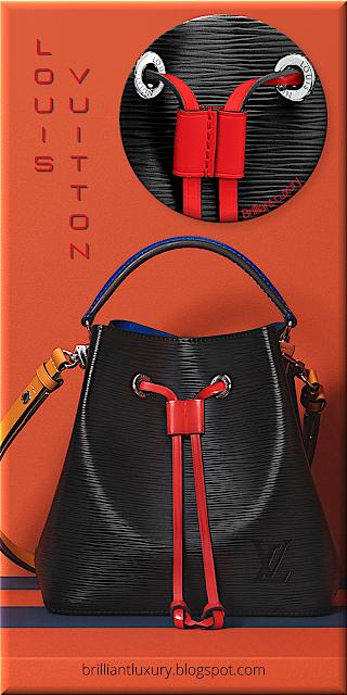Louis Vuitton NéoNoé BB bucket bag in black and coquelicot red trim #bags #louisvuitton #brilliantluxury